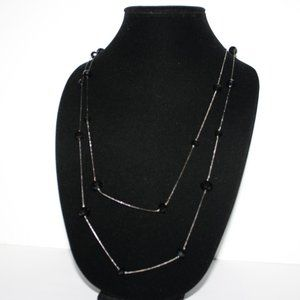 Long gun metal black and beaded necklace 50""
